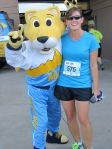 Me and Rocky, the Nuggets mascot.  Nuggets showed the most support for the runners this year, giving us Rocky, dancers and a basketball player!  Go Nuggets!